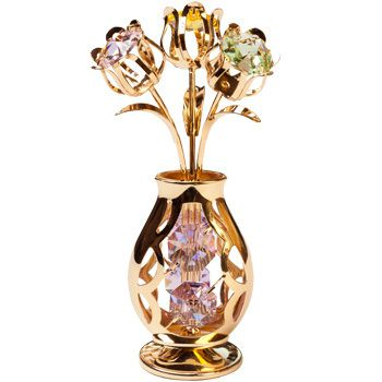 CRYSTOCRAFT Figurine Tulips in Crystal Vase