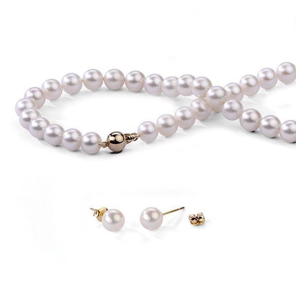 UMI Pearls 18K Necklace & Ear Stud SetImage
