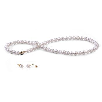 UMI Pearls 18K Necklace & Ear Stud Set