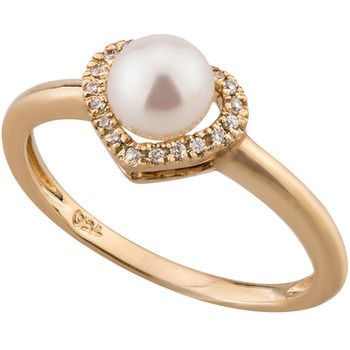 UMI Pearls DIAMOND HEART Ring
