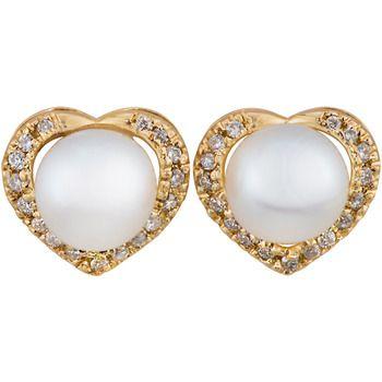UMI Pearls DIAMOND HEART Earrings