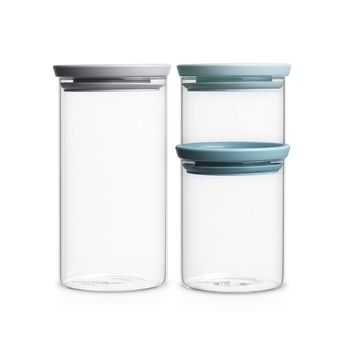 Brabantia Stackable Glass Jars Set 3pcs