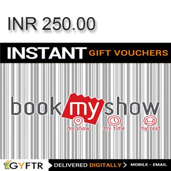 Bookmyshow.com GyFTR Instant Gift Voucher INR250
