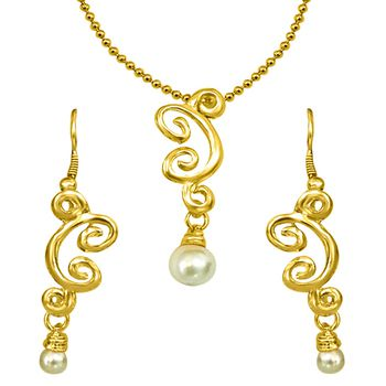 SURAT DIAMOND Gold Plated Pendant, Earring & Chain Set