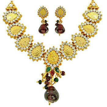 SURAT DIAMOND Indian Polki Multicolor Necklace & Earring Set