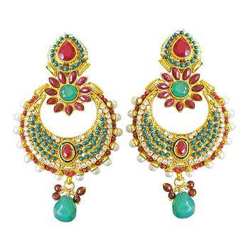 SURAT DIAMOND Gold Plated Chandbali Earrings