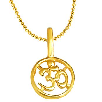 SURAT DIAMOND OM Shaped Gold Plated Pendant Chain