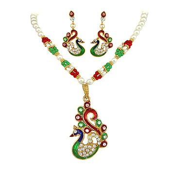 SURAT DIAMOND Enameled Peacock Fashion Set
