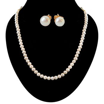 SURAT DIAMOND Freshwater Pearl Necklace with Studs