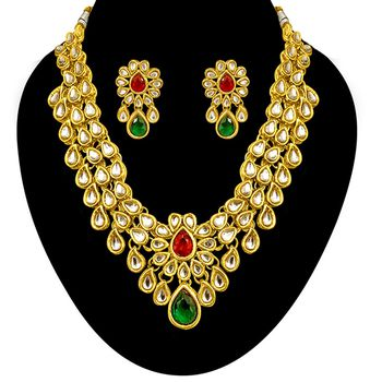 SURAT DIAMOND Kundan Gold Plated Necklace & Earring Set