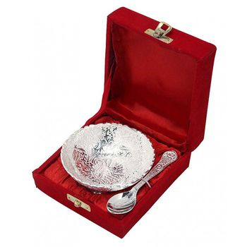 DivineHaat Silver Bowl with Spoon - Silver Plated 5