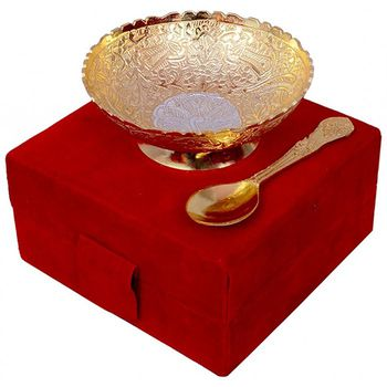 DivineHaat Silver Bowl with Spoon - Dual Tone 5