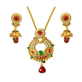 SURAT DIAMOND Gold Plated Pendant Necklace & Earring Set