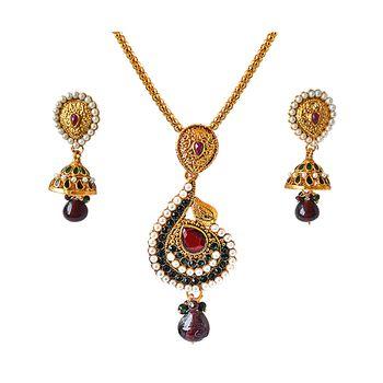 SURAT DIAMOND Drop-Shaped Pendant Necklace & Earring Set