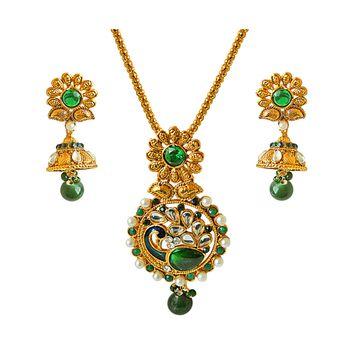 SURAT DIAMOND Peacock-Shaped Pendant Necklace & Earring Set