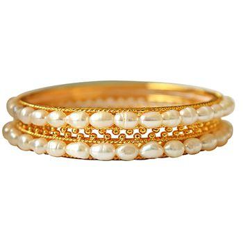 SURAT DIAMOND Rice Pearl & Gold Plated Women's Bangles
