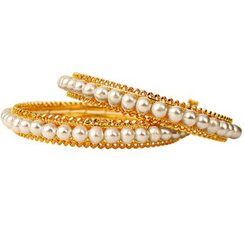 SURAT DIAMOND Pearl & Gold Plated Women's Bangles with Screw