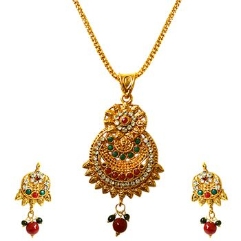SURAT DIAMOND Multicolor Stone Pendant Necklace & Earring Set