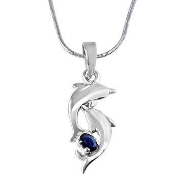 SURAT DIAMOND Blue Sapphire & Silver Dolphin Pendant with Chain