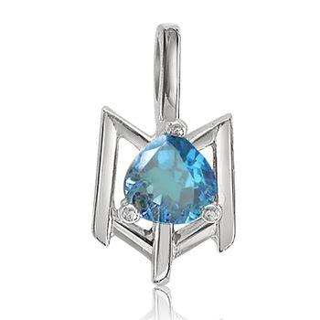 SURAT DIAMOND Blue Topaz Pendant with Chain