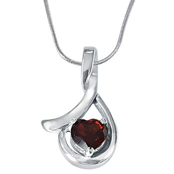 SURAT DIAMOND Heart Shape Red Garnet & Silver Pendant with Chain