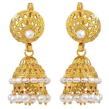 SURAT DIAMOND Pearl & Gold Plated Zhumki Earrings