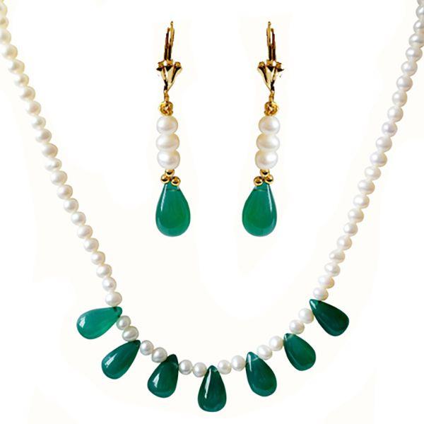 SURAT DIAMOND Pearl & Drop Green Onyx Necklace & Earring Set Image