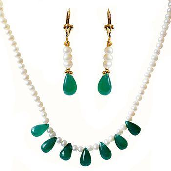 SURAT DIAMOND Pearl & Drop Green Onyx Necklace & Earring Set