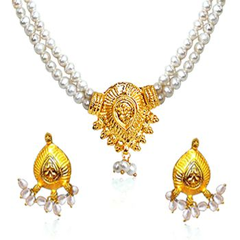SURAT DIAMOND 2 Line Pearl & Gold Plated Necklace & Earring Set