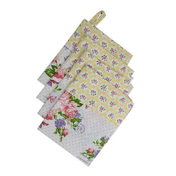 Bliss Printed Kitchen Linen Set, White Pink