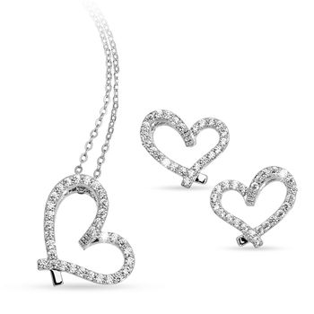 Pica LéLa FOREVER Heart Necklace Earring Set