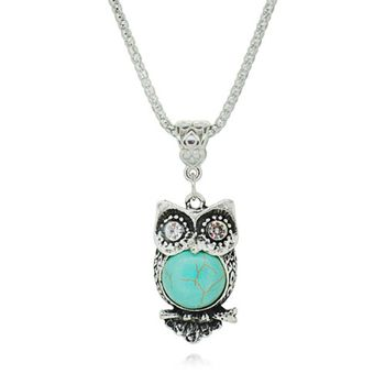 excitingLives TURQUOISE Owl Pendant with Chain