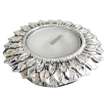 excitingLives SILVER FLOWER Diya Holder