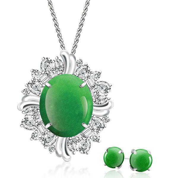 Imperial CYNTHIA Pendant Necklace & Jade Green Earrings Set