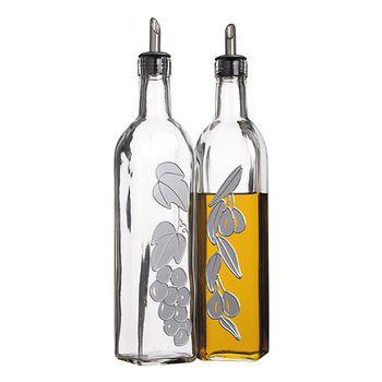 KitchenCraft Set di 2 bottiglie italiane per olio e aceto in vetro
