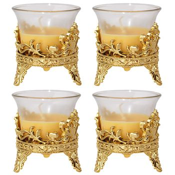 Delice Golden Glass Candle Set - 4pcs