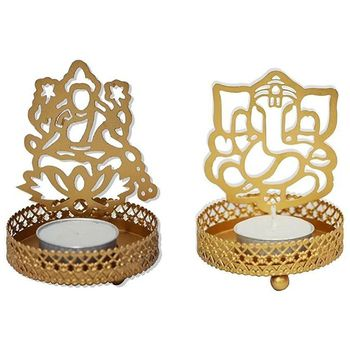 Delice Laxmi & Ganesha Impression with Stand & Candle Set