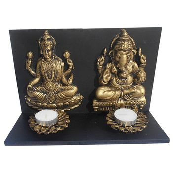 Delice Laxmi & Ganesha Idol with Candle Set