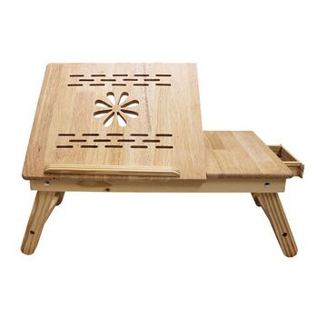 Ginnie & Ginnie Rubberwood Laptop Table with Router Cut
