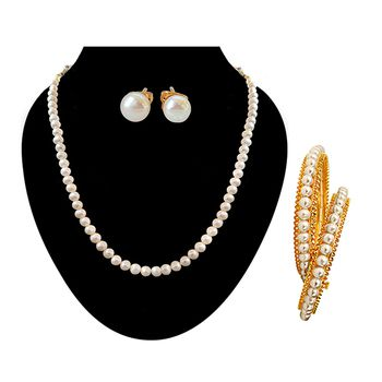 SURAT DIAMOND Necklace with Studs + Bangles Combo