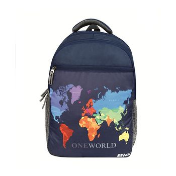 Bleu World Map-Print Laptop Backpack 30l
