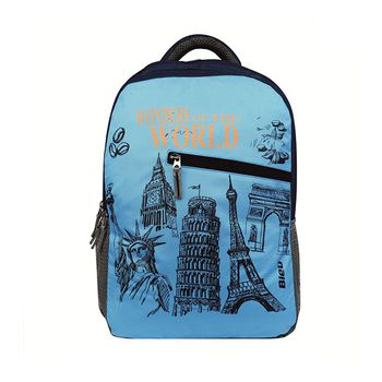 Bleu World Monument-Print Laptop Backpack 30l
