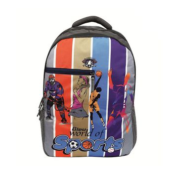 Bleu Sports-Print Laptop Backpack 30l