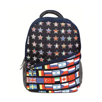 Bleu Flag-Print Laptop Backpack 2035