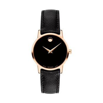 Movado MUSEUM Rose Gold-Tone Ladies Watch with Leather Strap