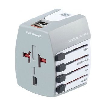 Go Travel Universal World Adaptor with 2 USB Ports