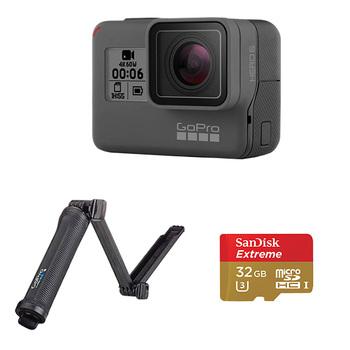 GoPro HERO6 Camera + 3-Way Mount + SanDisk microSD Card 32GB