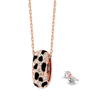Pica LéLa MYSTIQUE Crystal Enamel Pendant Necklace& Earrings Set