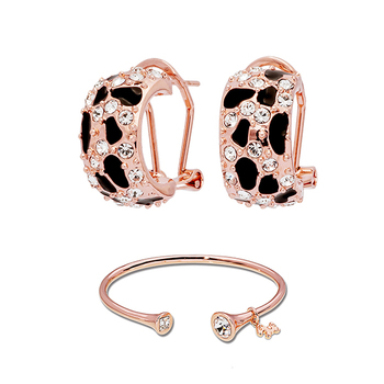 Pica LéLa MYSTIQUE Crystal Enamel Earrings & Bangle Set