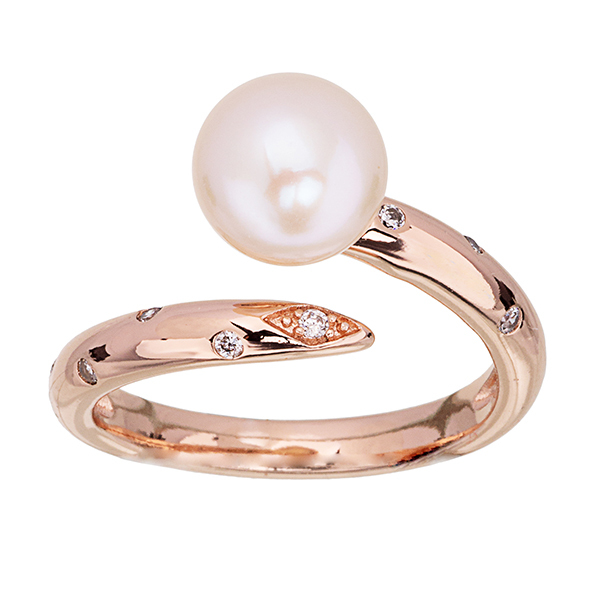 Pica LéLa MARGARET Freshwater Pearl & Clear Crystal RingImage